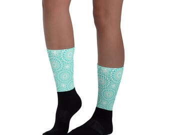 Turquoise and Black Socks for Women, Blue and White Flowery Patterned Crew Socks, Ribbed Printed Socks