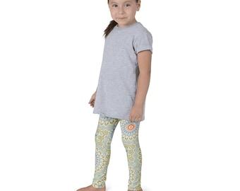 Kids Yoga Leggings, Green and Orange Mandala Art Leggings for Girls, Children's Yoga Pants Activewear