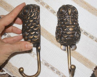 2x Owl Brass Wall Hook, Hanger, Rustic, Kids Room LARGE