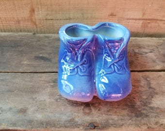 Blue baby booties ceramic vintage, ceramic blue baby shoes planter or collectible