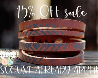 ON SALE Shredded Painted Leather Cuff Bracelet