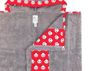 Panda Hooded Towel Gray