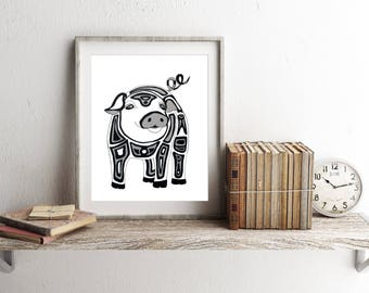 Pig Art, Pig Print, Pig Art Print, Pen Ink Art, Limited Edition Print, Canadian Artist, Canadian Seller, Fine Art Prints Animal, Fine Art