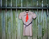 Vintage Girl Scout Brownie Outfit 1950s with Ascot and belt