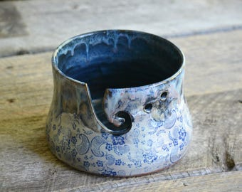 Pottery yarn bowl with blue flowers