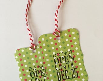 """Handmade Christmas Gift Tags, Green Dots, """"Do Not Open Until Dec. 25"""", Pack of 10"""