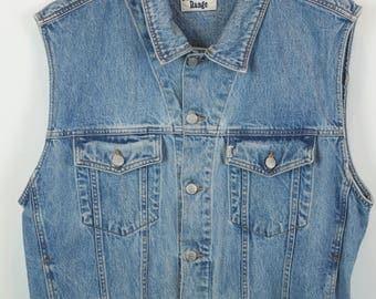 140 Vintage vest, jeans vest, light denim, oversized