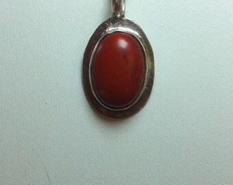 14, Red Jasper Pendant Necklace, Stocking Stuffer, Sterling Silver Pendant, Red Jasper