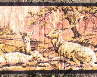 Elk tapestry large wall hanging or rug vintage with fringed edges