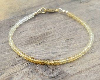 Shaded Micro Faceted Citrine & Gold Bracelet