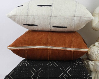 Mudcloth Pillow Cover Bundle, Three 18x18 Double-sided Mudcloth Pillow Covers, Rustic, Natural & Black Pillow Covers