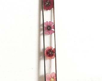 Glass pressed flower frame - Thin rectangle  - Pressed flowers - Mixed pointentillas - Wall hanging