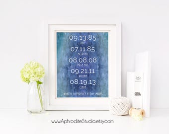 Family dates print - What a difference a day makes - family dates wall art - housewarming gift - Important dates sign - family dates sign