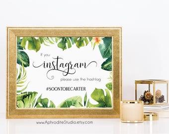 If you instagram sign - Destination wedding sign - Tropical wedding sign - Beach Wedding hashtag sign - destination wedding instagram sign