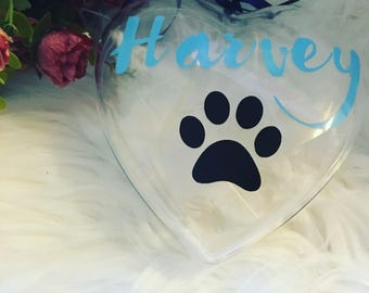 Pet memory bauble, Dog bauble, christmas heart, large bauble, personalised large heart bauble, pet name, dog gift, cat memory, dog memorial