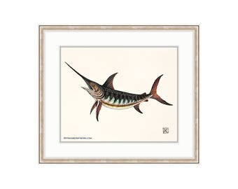 "Swordfish Giclee Print of a Watercolor Painting 8""x10"" for the Saltwater Angler. Deep Sea Fishing. Billfish. Broadbills. Trophy Fishing."