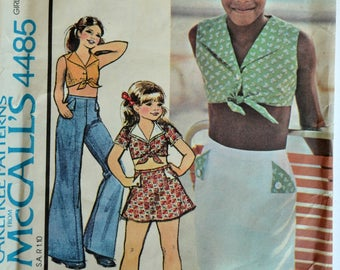 Uncut 1970s McCall's Vintage Sewing Pattern 4485, Size 12; Girls' Top, Skirt and Pants
