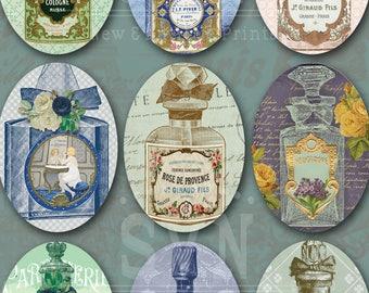 Vintage Perfume Bottles Ovals Shabby Chic - 9 Ovals - 3,5 x 2,5 inch - Digital Oval image - Digital Collage Sheet - Instant Download