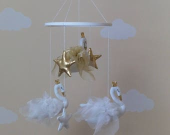 Swans baby mobile white/gold/grey or single stand alone decor