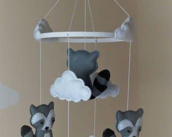 Woodland Baby raccoon nursery mobile