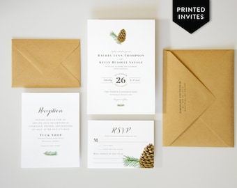 Winter Wedding Invites - Rustic Wedding Invitations - Woodland Nature - Forest Pinecone and Branch - Custom Wedding Invitation Package