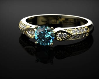 Yellow Gold Blue Topaz Engagement Ring Yellow Gold Engagement Ring Blue Gemstone Engagement Ring Gold Blue Topaz Ring December Birthstone