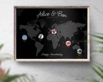 World Travel Photo Map, Travel Photo Bucket List, Personalised Travel Map, Personalised Photo Map, Couples Travel Gift, Travel Memories Map