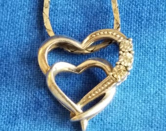 CP067 Vintage Sterling Silver Necklace with Intertwining Heart Pendant with Diamonds