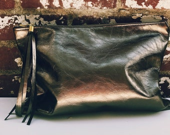 NK- Bronze color Leather Zipper Clutch- Large Leather-Makeup Pouch- Leather Bag with long tassel. Leather pouch.