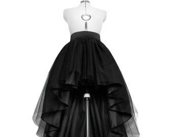 High Low Tulle Skirt Asymmetrical Taffeta Dip Hem Tutu Layered Wedding Gown Waisted Bridal