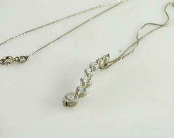 """Pendant Necklace with Graduated Clear Stones  19"""" All Sterling"""