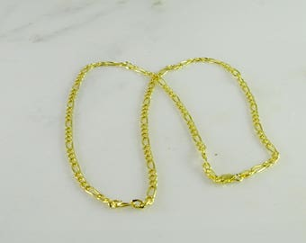 """Gilt Sterling Silver Figaro Neck Chain Italy 24"""""""
