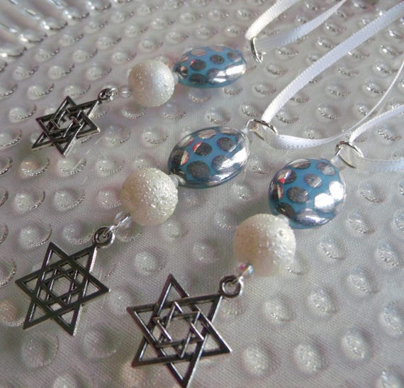 Hanukkah ornaments - blue oval metallic dot beads - set of 3 - festive gifts - Star of David charms -  Jewish design - Hanukkah bush decor