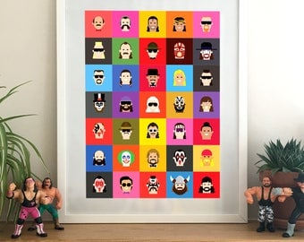 Classic WWF / WWE 35 character print / WWE Art – wwe gift, wall art, wwe Poster, Thanks giving, Christmas, Hulk hogan, Macho Man, gift him