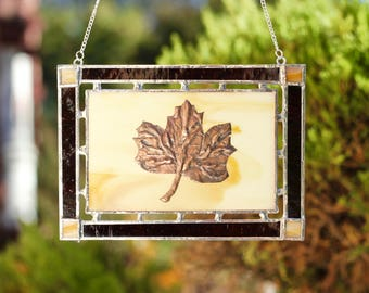 Stained Glass Window Hanging - Autumn Leaf