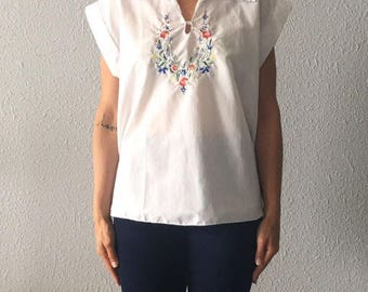 1970's Floral Embroidered Vintage Bohemian Hippie 70's Floral Cotton Top Made in Greece