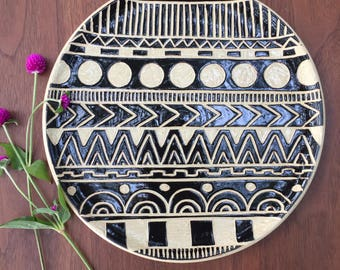 Hand carved pottery platter
