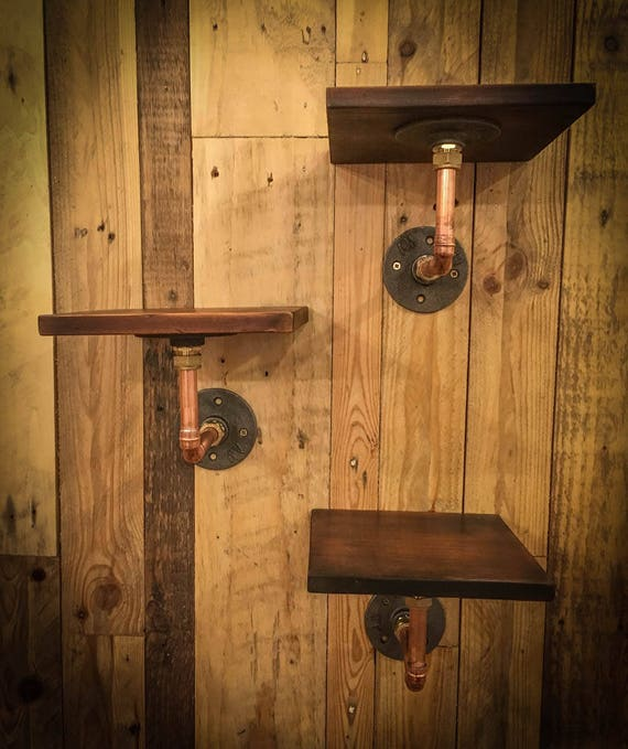 Industrial Copper Pipe Shelves