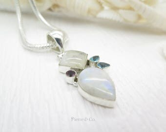 Rainbow Moonstone Blue Topaz and Amethyst Sterling Silver Chain and Pedant