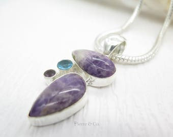 Surgulite Amethyst and Blue Topaz Sterling Silver Pendant and Chain