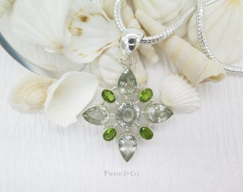 Flower shape Green Amethyst and Peridot Sterling Silver Pendant and Chain