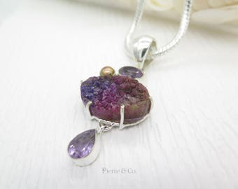 Purple Agate Drusy Amethyst and Pearl Sterling Silver Pendant and Chain