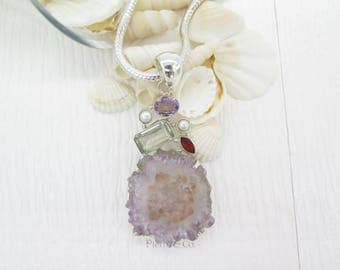 Large Geo Amethyst Pearl Green Amethyst and Garnet Sterling Silver Pendant and Chain