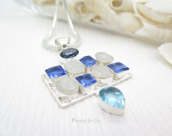 Rainbow Moonstone and Blue Topaz Sterling Silver Pendant and Chain