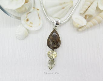 Bronzite and Citrine Sterling Silver Pendant and Chain