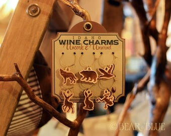 """Charms for Stemware and Mugs, """"Forest Animals"""" Etched in Hand-milled Hardwood"""