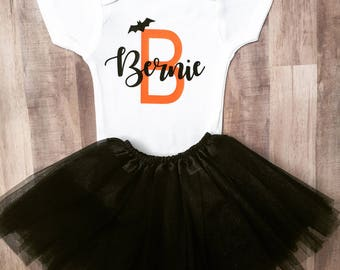 Halloween Outfit - Halloween Costume - My First Halloween - Halloween Onesie and Tutu - Halloween Tutu - Baby Girl Halloween Outfit