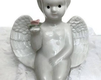 Vintage White Glazed Ceramic Sitting Angel Holding a Pink Rose  Vintage Angel Shelf Decor