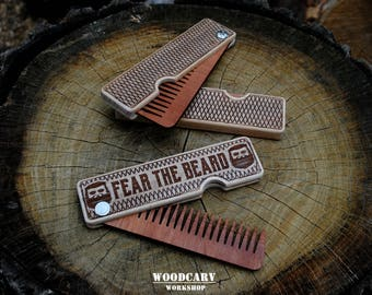 Men valentine gift wooden beard comb 5 anniversary gift folding comb for men personalized beard comb dad valentines gift husband valentine