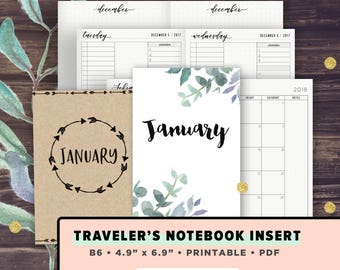 B6 TN Inserts Travelers Notebook Printable   JANUARY 2018 Monthly Kit Vertical Layout, 3 columns, fits Erin Condren, Mambi Stickers, Weekly